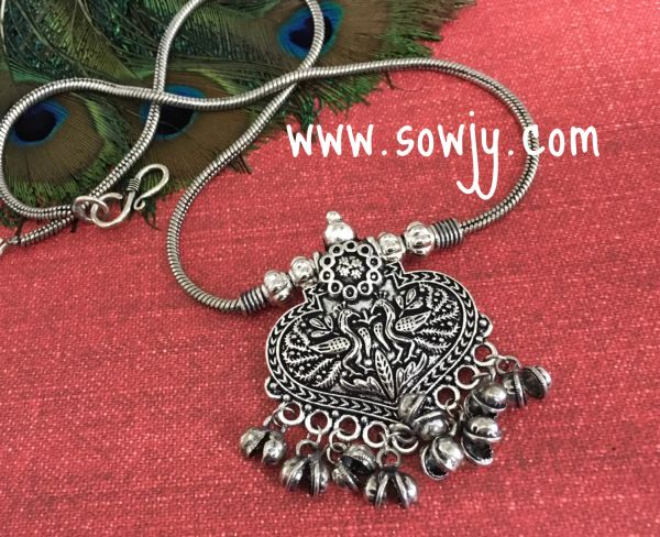 78ff38ac65f61 Heart SHaped Peacock oxidised pendant with Long Chain!!!!