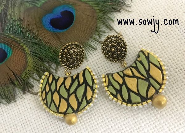 OOAK Double Half Moon \u2013 Black with Gold Veins Lightweight Clay Earrings for Modern Women with Style \u2013 handmade made in Philly