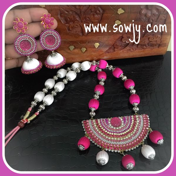 2f453d63e Grand Designer Silk Thread Big Sized Stone Pendant Set with Long Silk  THread Earrings- Pink and White Combo!!!