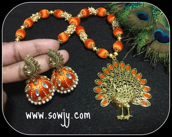 Grand Orange Designer Peacock Silk Thread Necklace With Double