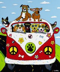 Peace, Woof & Happiness - Dogs in VW Bus, Boston Terrier, Boxer, Dachshund, Basset Hound, Black Lab, Golden Retriever, Jack Russell, Chihuahua, Miniature Pinscher