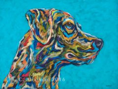 "Watching & Waiting - Labrador Retriever Metal Print, SIZE 11"" h x 14"" w"
