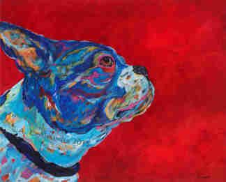 "Into The Wind - Boston Terrier Metal Print, SIZE 11"" h x 14"" w"