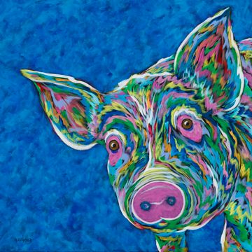 "Oink? - Pig METAL PRINT SIZE 10"" X 10"""