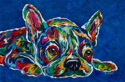 "I'm Not Moving (BLUE) - French Bulldog, Boston Terrier, Metal Print SIZE 10"" x 15"""