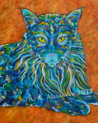 "The Maine One - Maine Coon Cat, Metal Print Size 24"" x 30"""