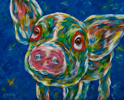 "Swine Time To Meet You - Pig METAL PRINT Size 11"" x 14"""