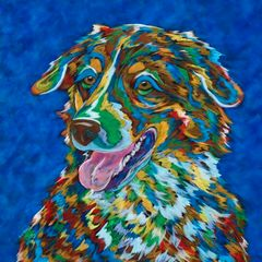 "You Make Me Smile - Australian Shepherd METAL Print 12"" Sq."