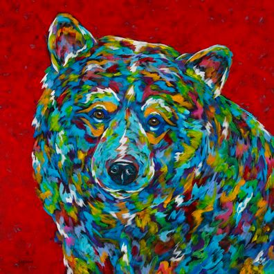 "Bear With Me - METAL PRINT 10"" sq."