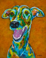 "Let's Party - Greyhound METAL PRINT Size 11"" w x 14"" h"