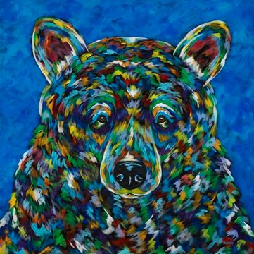 "Bearly A Care - METAL PRINT Size 12"" sq."