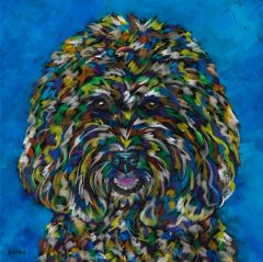 "I'm So Happy - Labradoodle METAL PRINTS SIZE 12"" SQ."