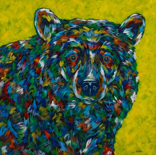"Curious - Bear METAL PRINTS SIZE 12"" SQ."