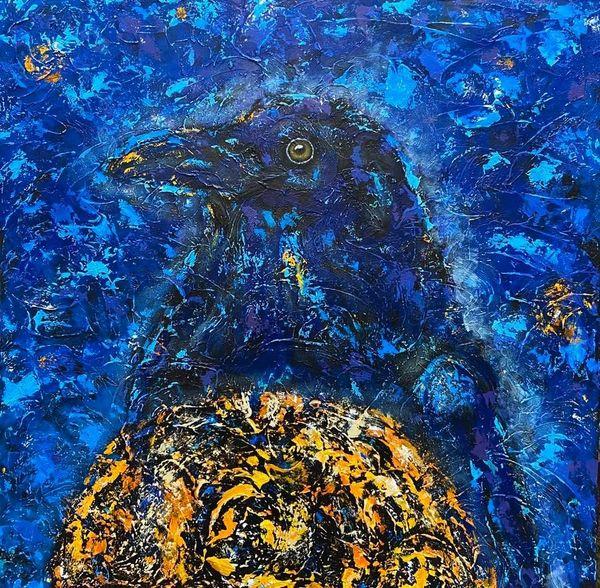 """The Messenger - Raven, Crow - METAL PRINT SIZE 12"""" SQ."""