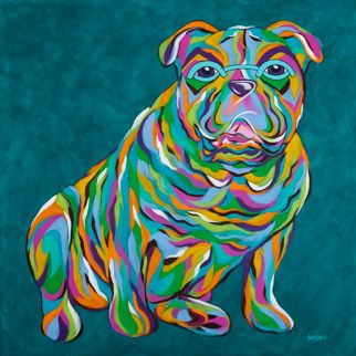 "Who Says Wrinkles Aren't Adorbable? - English Bulldog ORIGINAL PAINTING SIZE 24"" X 24"""