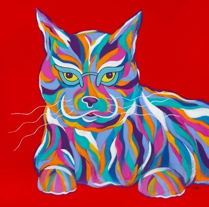 "Nobody Messes With Me - Cat ORIGINAL PAINTING SIZE 18"" X 18"""