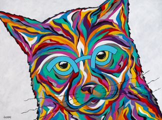 "You Talking To Me? - Cat ORIGINAL PAINTING SIZE 18"" X 24"""