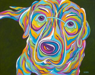 "You Can't Say 'NO' To These Eyes - Labrador Retriever ORIGINAL PAINTING SIZE 24"" X 30"""