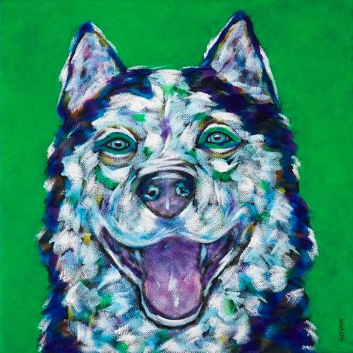 "You Make Me Smile - Husky, METAL PRINT SIZE 12"" X 12"""