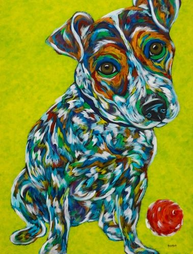 "Let's Play - Jack Russell Terrier METAL PRINT Size 11"" x 14"""