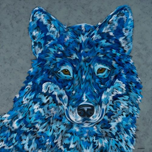 "The Blue HEALER - Wolf METAL PRINT Size 24"" x 24"""