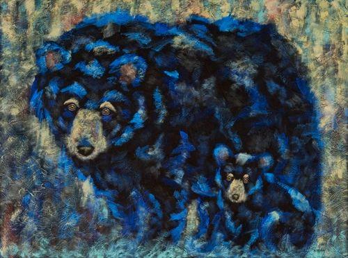"Bluebeary Love - Bear METAL PRINT SIZE 30""H X 40"" W"