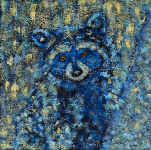 """Little Bandit - Raccoon METAL PRINT SIZE 16"""" X 16"""""""