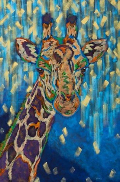 """The Air Is Better Up Here - Giraffe METAL PRINT SIZE 24"""" X 36"""""""