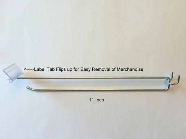"6 Inch Flip Scan Metal Peg Hooks w//Label Holder 1//8/"" to 1//4/"" Pegboard 10 PACK"
