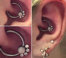 Daith piercing with a captive Opal and CZ gem bead ring from Dead RockStar Fargo, North Dakota