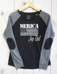 Long Sleeve Jeep Girl MERICA Preppy Patch Slub T-Shirt