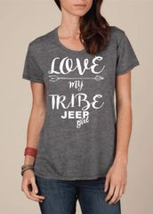 Shirt Love My Tribe Jeep Crew Neck Boyfriend Tee
