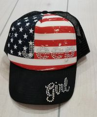 USA Flag Jeep Girl Trucker Hat