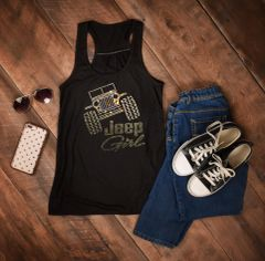 Tank Top Jeep Girl Logo Adult Flowy Rhinestone Tank Top