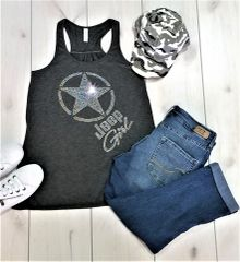 Tank Top Jeep Girl Star Logo Adult Bella Flowy Rhinestone Tank Top