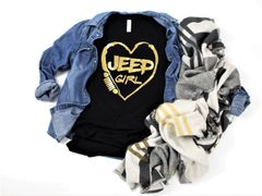 Jeep Love Foil Print Crew Neck or V Neck Tee