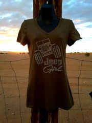 Shirt Jeep Girl Military Green Crew Neck or V Neck Tee