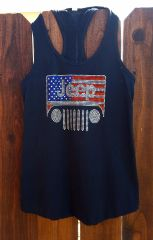 Tank Top Jeep USA Racer Back Tank Rhinestones