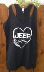 Tank Top Love Jeep Racer Back Tank White Print