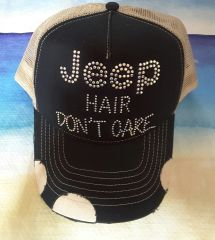 Jeep Vintage Style Trucker Hat Black and Beige