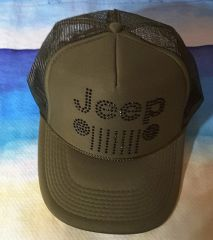 Jeep Style Trucker Hat Black and Beige