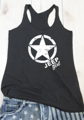 Tank Top Jeep Girl Star Raw Edge Vintage Black White Print Tank Top