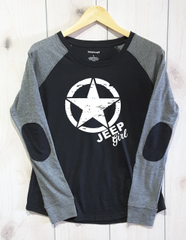 Long Sleeve Jeep Girl Star White Print Preppy Patch Slub T-Shirt