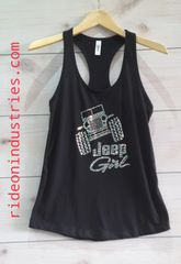 Jeep Girl Ideal Racer Back Tank Rhinestones