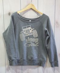 Long Sleeve Jeep Girl Sponge Fleece Wide Neck Sweatshirt Rhinestones