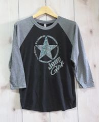 Long Sleeve Jeep Girl Circle Star Tri-Blend Three-Quarter Sleeve Baseball Raglan Tee Rhinestones
