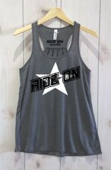 Ride On Adult Bella Flowy Tank Top Shirt White and Black Logo