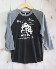 Long Sleeve Messy Jeep Girl Tri-Blend Three-Quarter Sleeve Baseball Raglan Tee