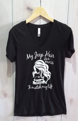 Shirt Messy Jeep Girl Jeep Crew Neck or V Neck Tee