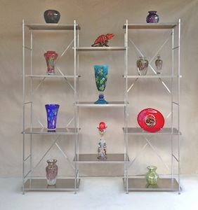 portable collapsible bookcase metal shelving 6' long x 6' high x 1' deep, natural aluminum with art glass products